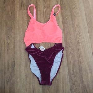 PINK suede one piece NEW